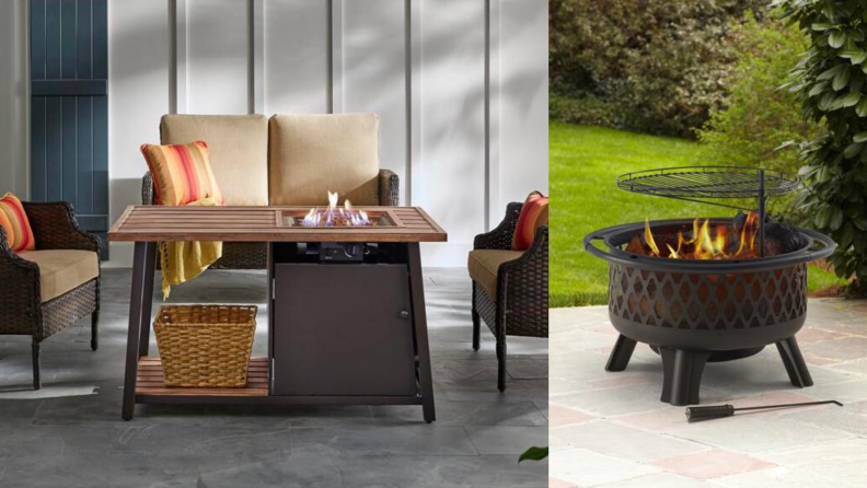 The Hampton Bay Fordham LP fire pit coffee table and the Hampton Bay Piedmont steel fire pit are both popular choices at The Home Depot.