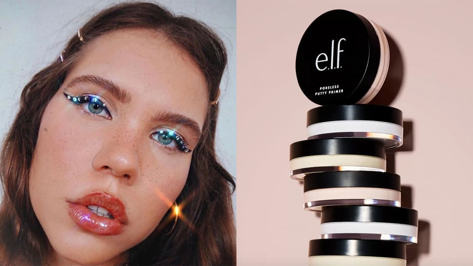 On the left: A young person stares directly at the camera while wearing lip gloss and a thick line of eyeliner with rhinestones stuck to it. To the right, a stack of six E.L.F. Cosmetics Poreless Putty Primers stands against a light pink background. The top primer faces out toward the camera. Each product has a clear container with a black lid.