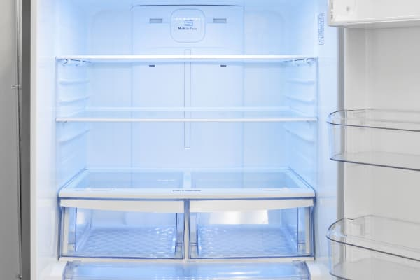 All the shelves in the LG LDCS24223S's fridge are full-width, so you get plenty of space but not a lot of flexibility.