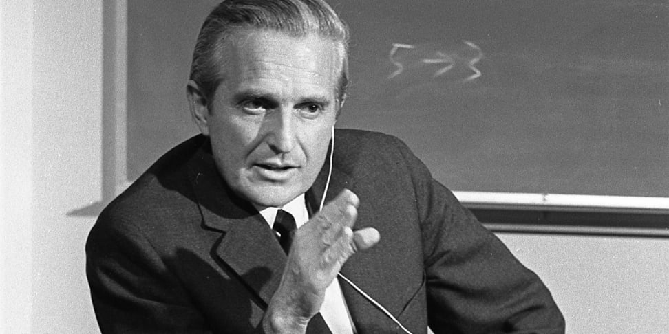Inventor of the computer mouse, Douglas C. Engelbart in 1968