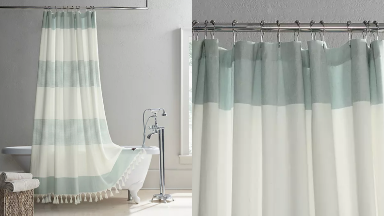 A white and green striped shower curtain.