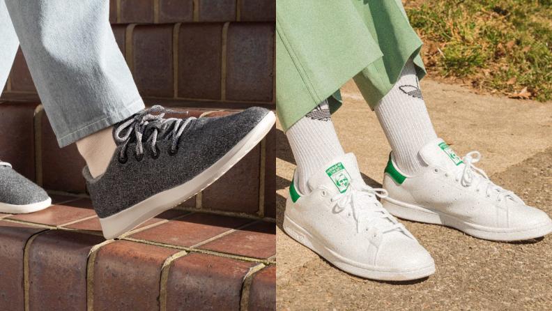 Two images of men's footwear.