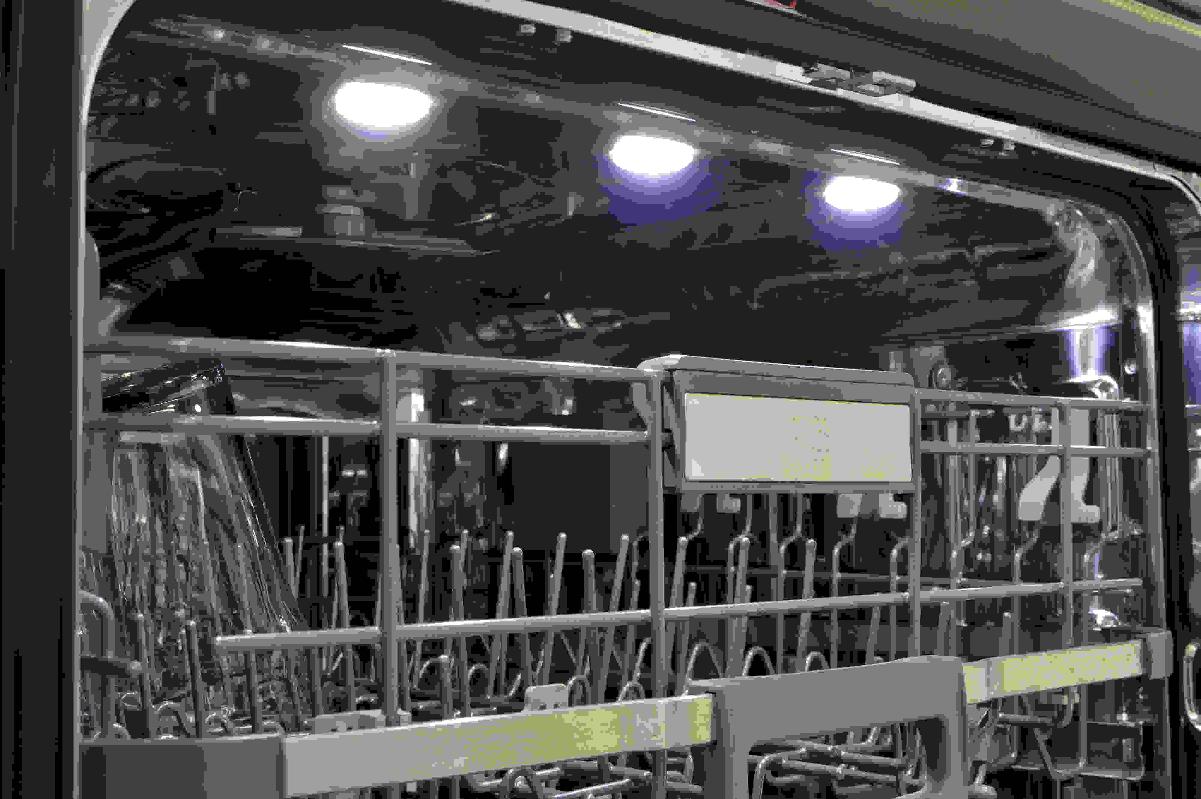 Three lights inside the dishwasher