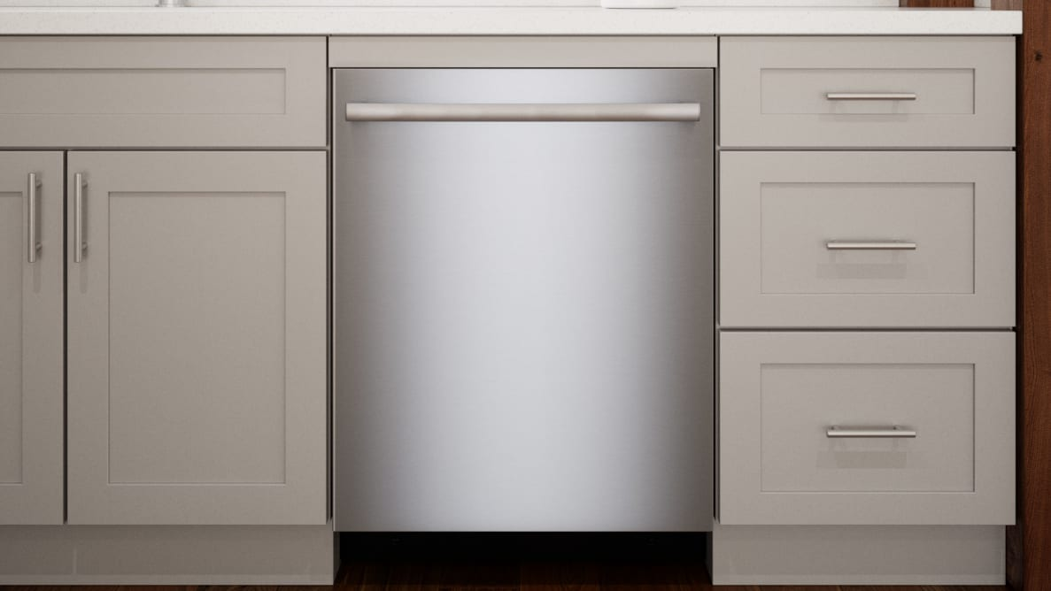 A shot of kitchen cabinetry with the Bosch dishwasher installed in the center