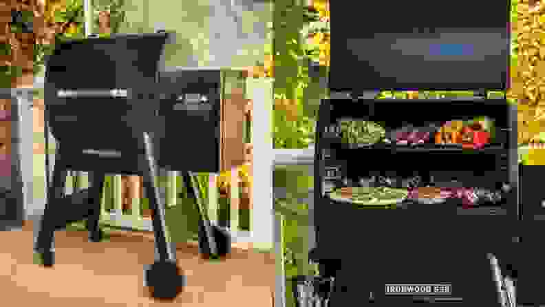 A Traeger grill produces heat by burning pellets made from compressed wood.
