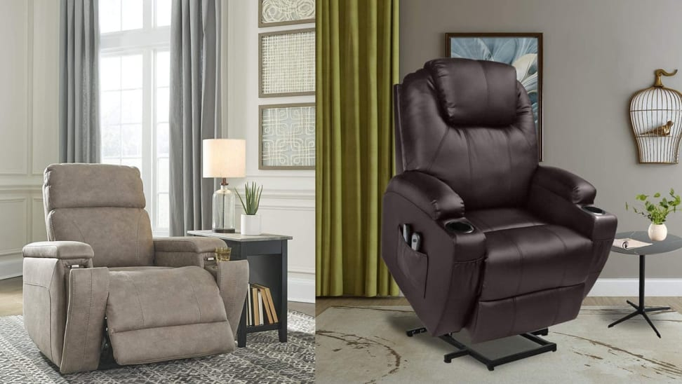 On left, sand colored power lift chair in living room setting. On right, brown leather chair in elevated position in living room setting.