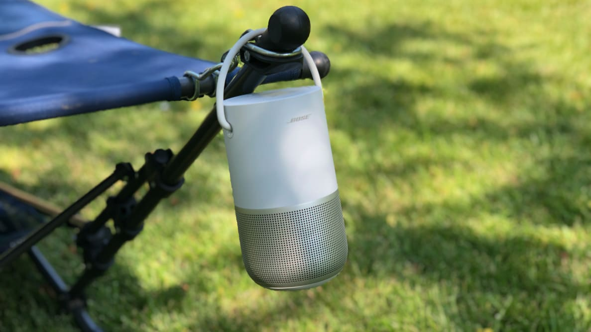 Bose Portable Smart Speaker hanging from hammock