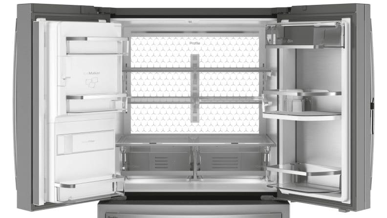 an open French-door fridge