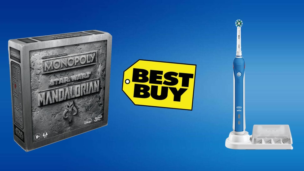 blue background with best buy logo, electric toothbrush and star wars monopoly