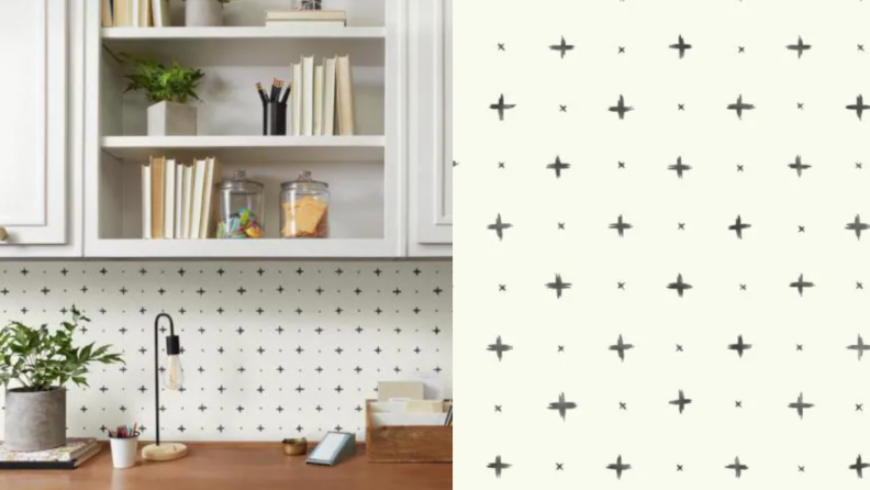 On the left, a desk with cross hatch print wallpaper pasted against it. On the right, a close up of the wallpaper.