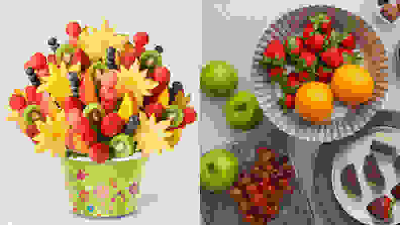 On left, colorful fruit arrangement. On right, assorted fruits on plates.