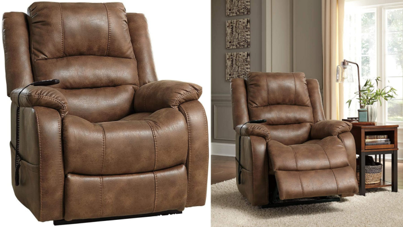 On left, brown leather chair. On right, brown leather chair with footrest extended outward in living room.