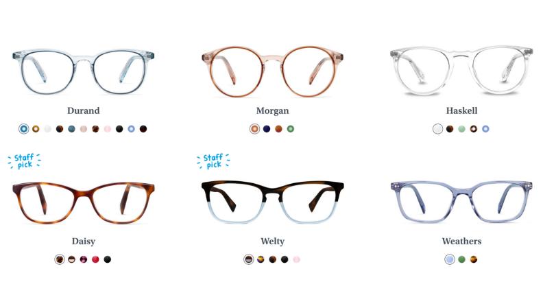 glasses webpage