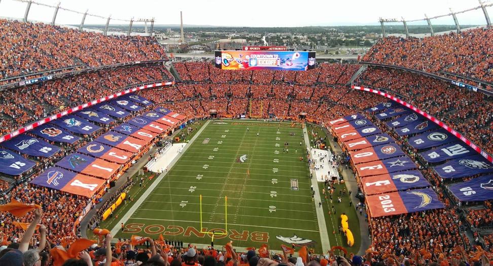 An NFL Broncos football game