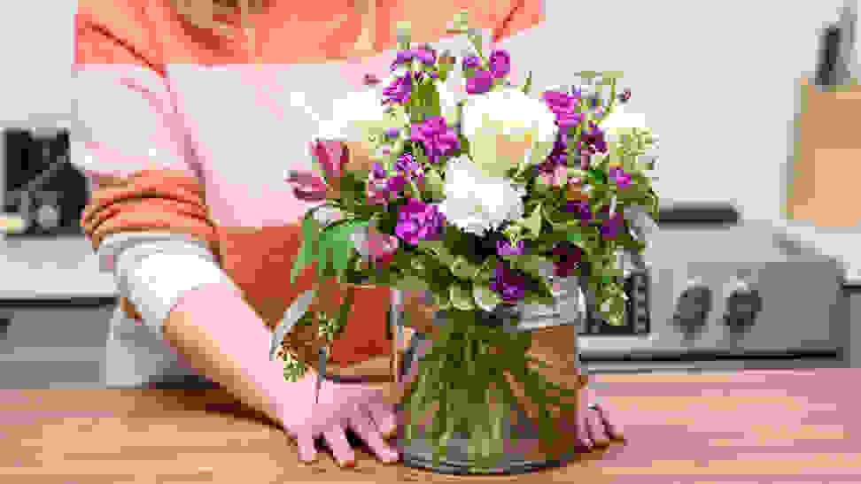 Purple and white bouquet of flowers from 1-800-Flowers
