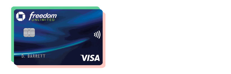 A blue Chase Freedom Unlimited credit card with a green and pink border