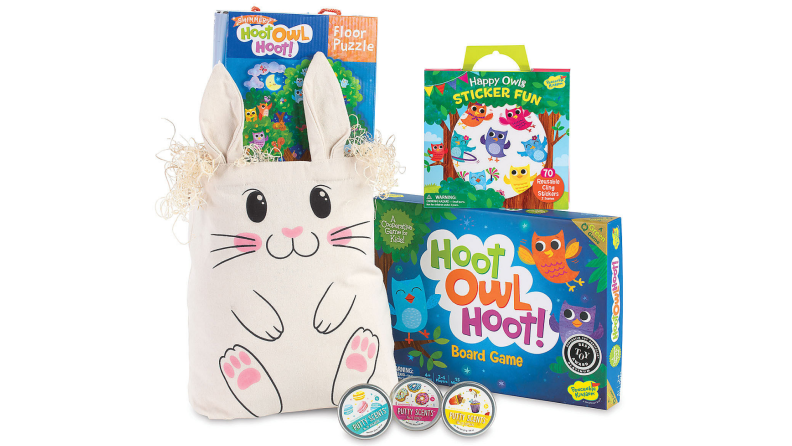 A bunny Easter bag full of games and toys