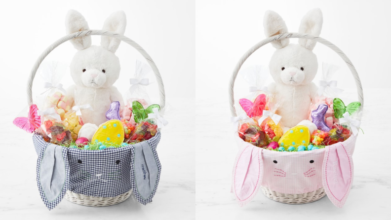 A gingham bunny Easter basket with candy and a white bunny stuffed animal.