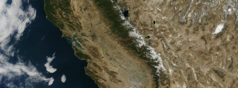 A satellite image of California.