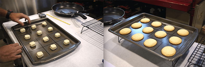 Cookies before and after the bake test.