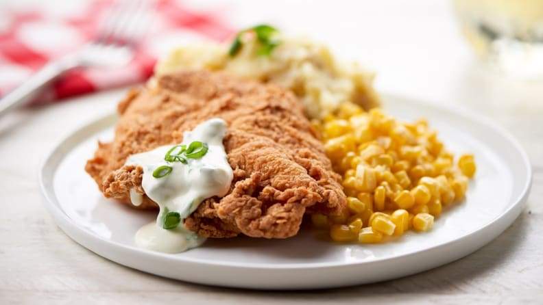 Home Chef's Farmhouse Fried Chicken with Mashed Potatoes, Green Onion Gravy, and Corn