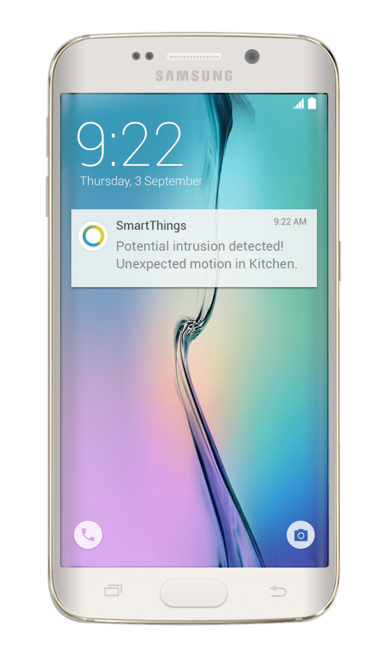 A SmartThings alert notification