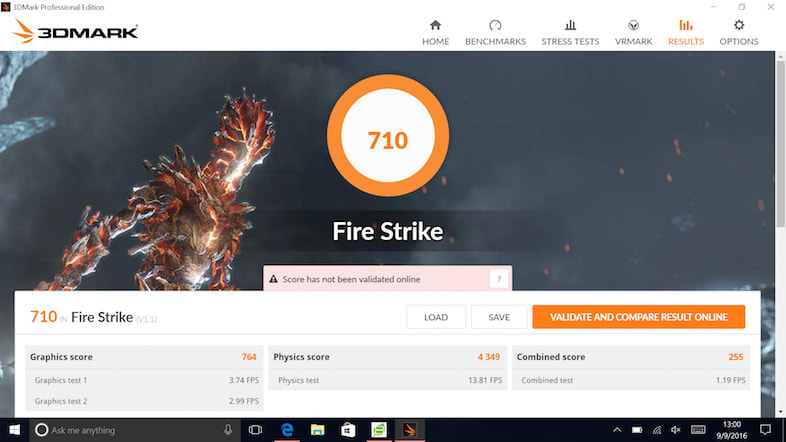 An example of the results of the 3DMark Fire Strike test.
