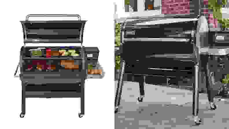 Side by side images of the second generation Weber EX6 pellet grill, with lid open and with lid close.