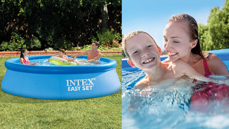 An Intex pool and two children playing in the water.