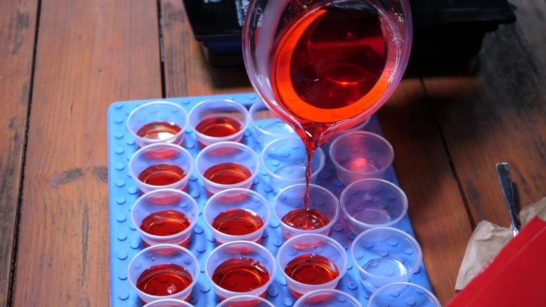 Pouring red Jell-O
