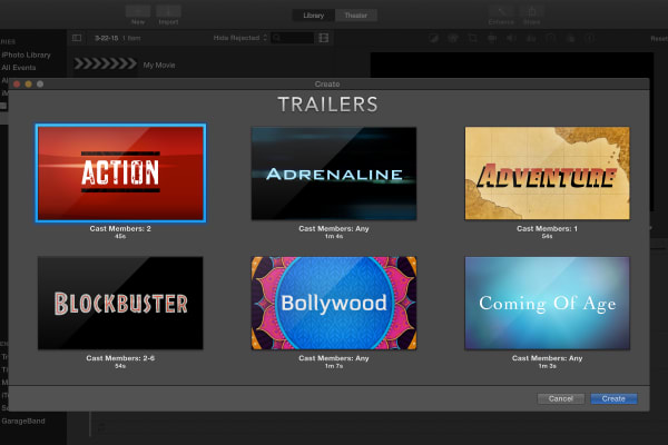iMovie comes with templates to create your own movie trailers, which is good practice if you want to edit video.