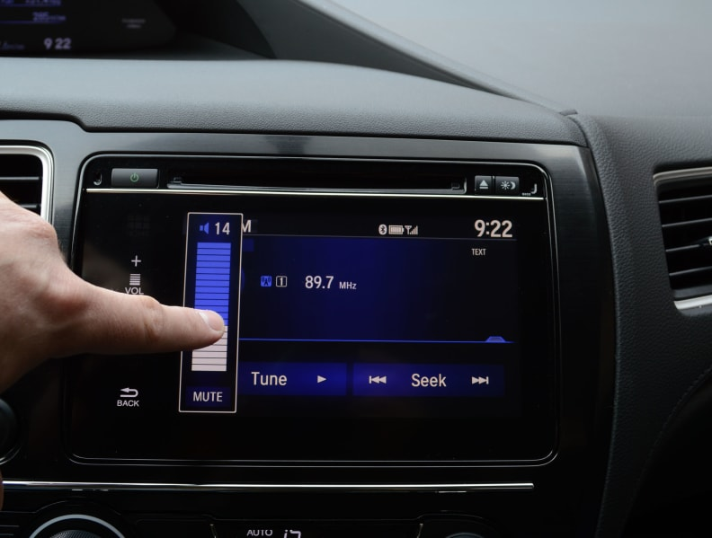 The volume control appears only when it senses a finger nearby.
