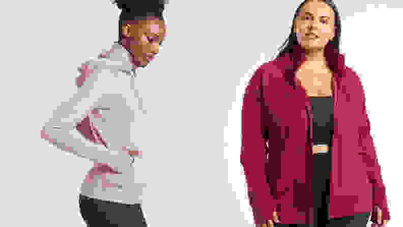 Women wearing athleta running jacket in lavender and red.