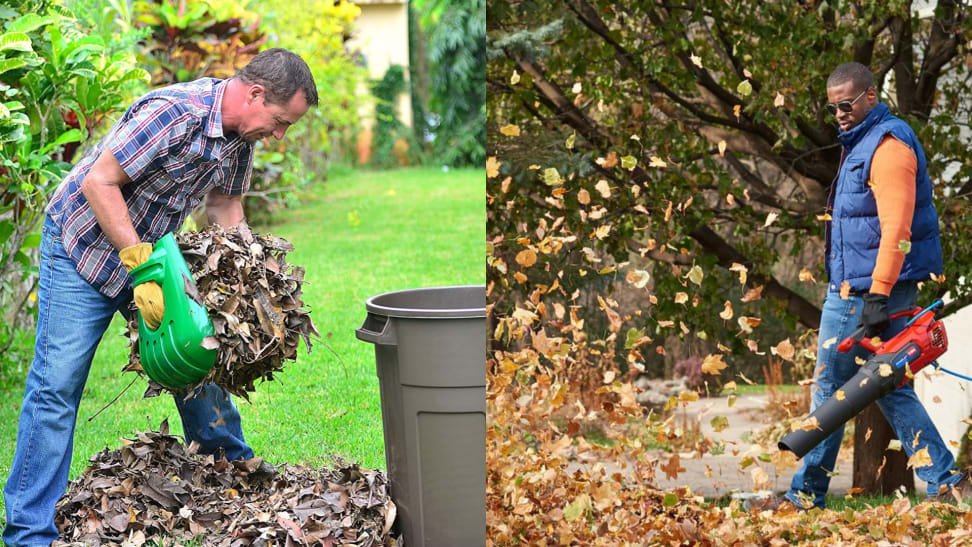 Picking up leaves with the Gardease leaf scoop and Toro leaf blower