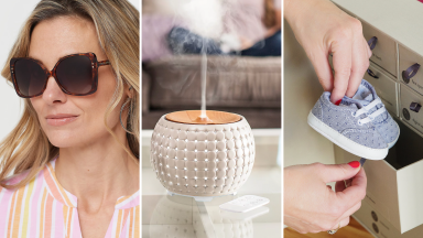 (left) a woman wears a pair of tortoiseshell sunglasses. (center) a room diffuser goes to work in a living room. (right) a person puts away baby shoes into a keepsake box.