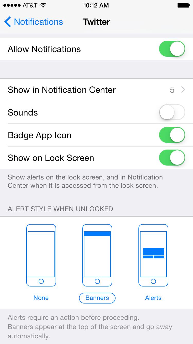 Twitter Push Notifications (iOS Menu)