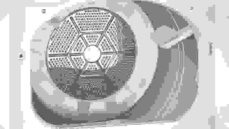 GE GTD33EASKWW front-loading dryer — drum
