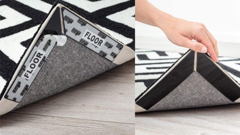 A person lifts a carpet to reveal a Gorilla Grip that prevents it from sliding.