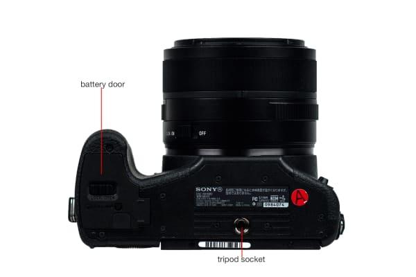 Bottom view of the Sony Cyber-Shot RX10 II.