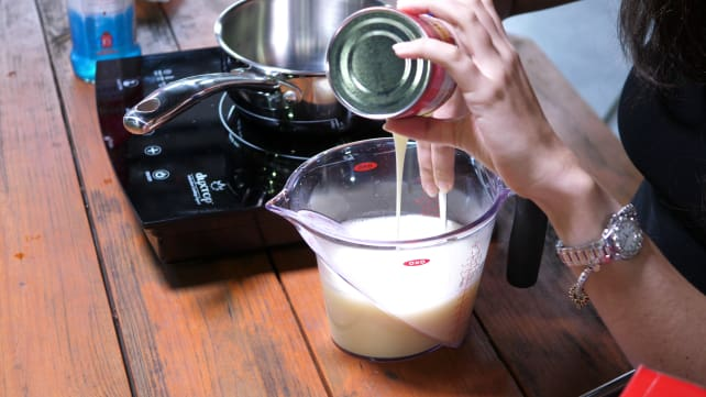 Pouring condensed milk