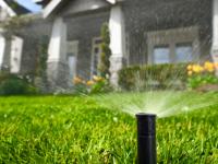 A sprinkler sprays water onto a green lawn.