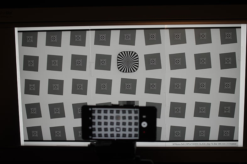 The backlit SFRplus chart is used to assess smartphone camera sharpness.