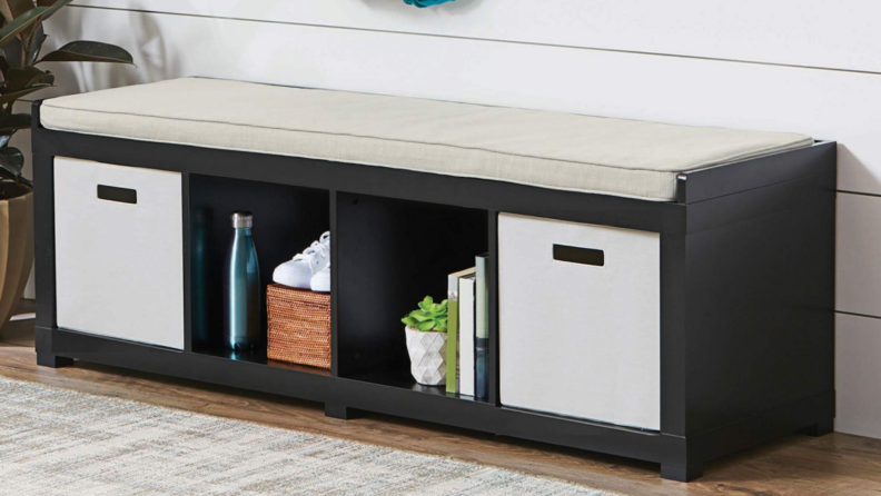 A four-cube organizer storage bench is a great addition to a mudroom—you can sit on it and store your shoes in it.