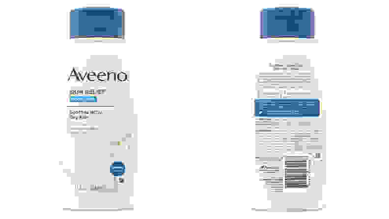 An image of the front and back of the packaging of the Aveeno moisturizing body wash for dry and sensitive skin.