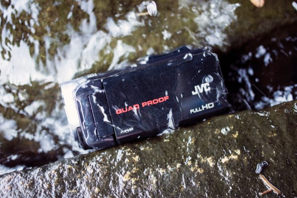 The JVC GZ-R10A is waterproof, shockproof, freezeproof, and dustproof.