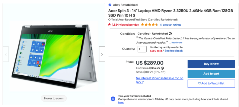 An image of a landing page for an Acer laptop listed under the certified refurbished program. The product listing has a Certified - Refurbished stamp above the product quantity box.