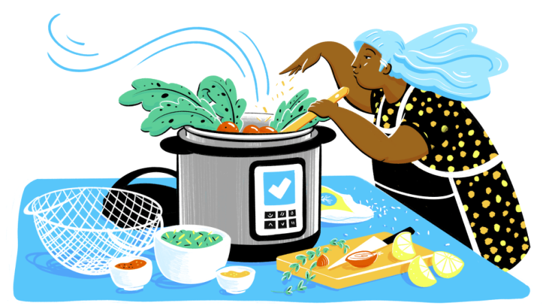 An illustration of a person cooking in an Instant Pot.