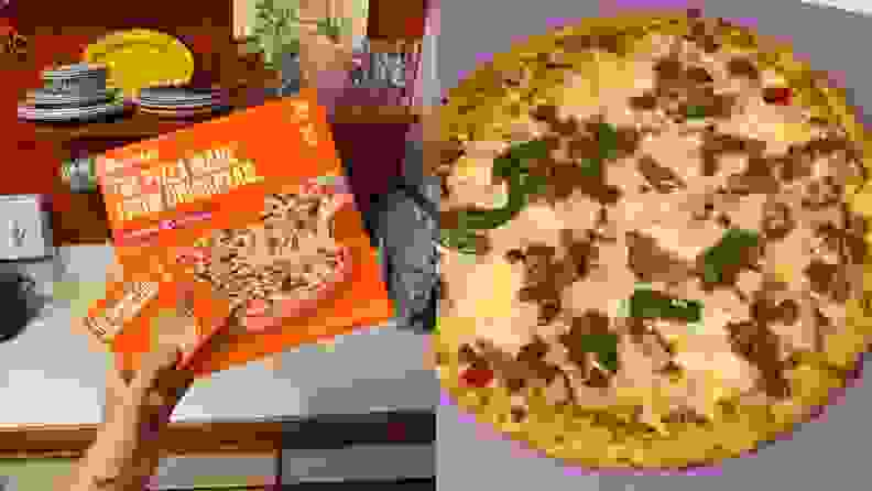 Left: A person holds a box of frozen chickpea crust pizza along with a smaller box filled with beads to make a mini beaded pizza. Right: The cooked chickpea crust pizza.