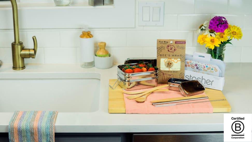 Zero waste items in a kitchen.