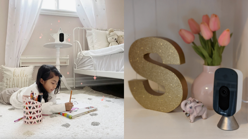 On left, young girl using colored pencils to color on bedroom floor with the Ecobee smart camera in the corner. On right, product shot of gray and black Ecobee SmartCamera on shelf next to flowers and gold decorative letter
